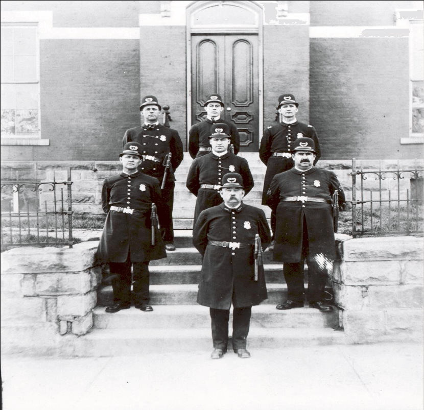 Bloomington's First Police Force in Unifrom around 1910