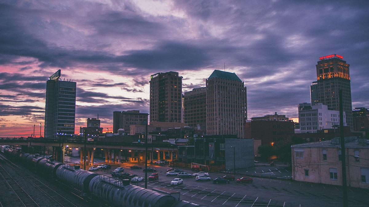 night road in Birmingham
