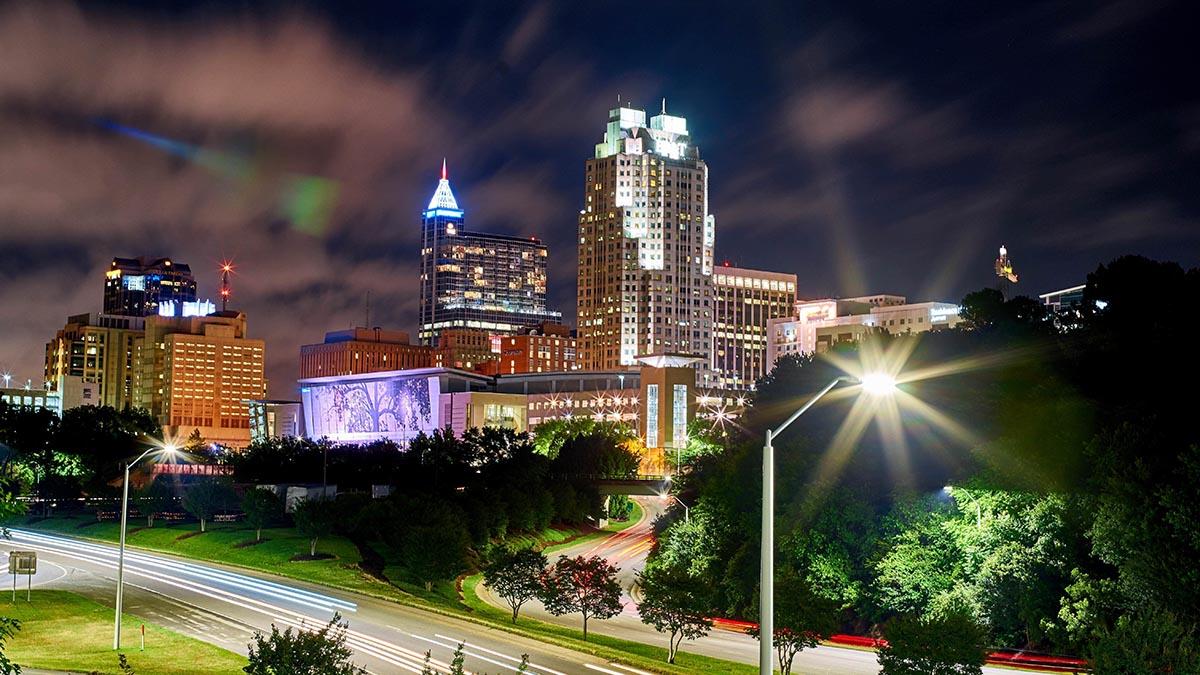 Raleigh North Carolina at night