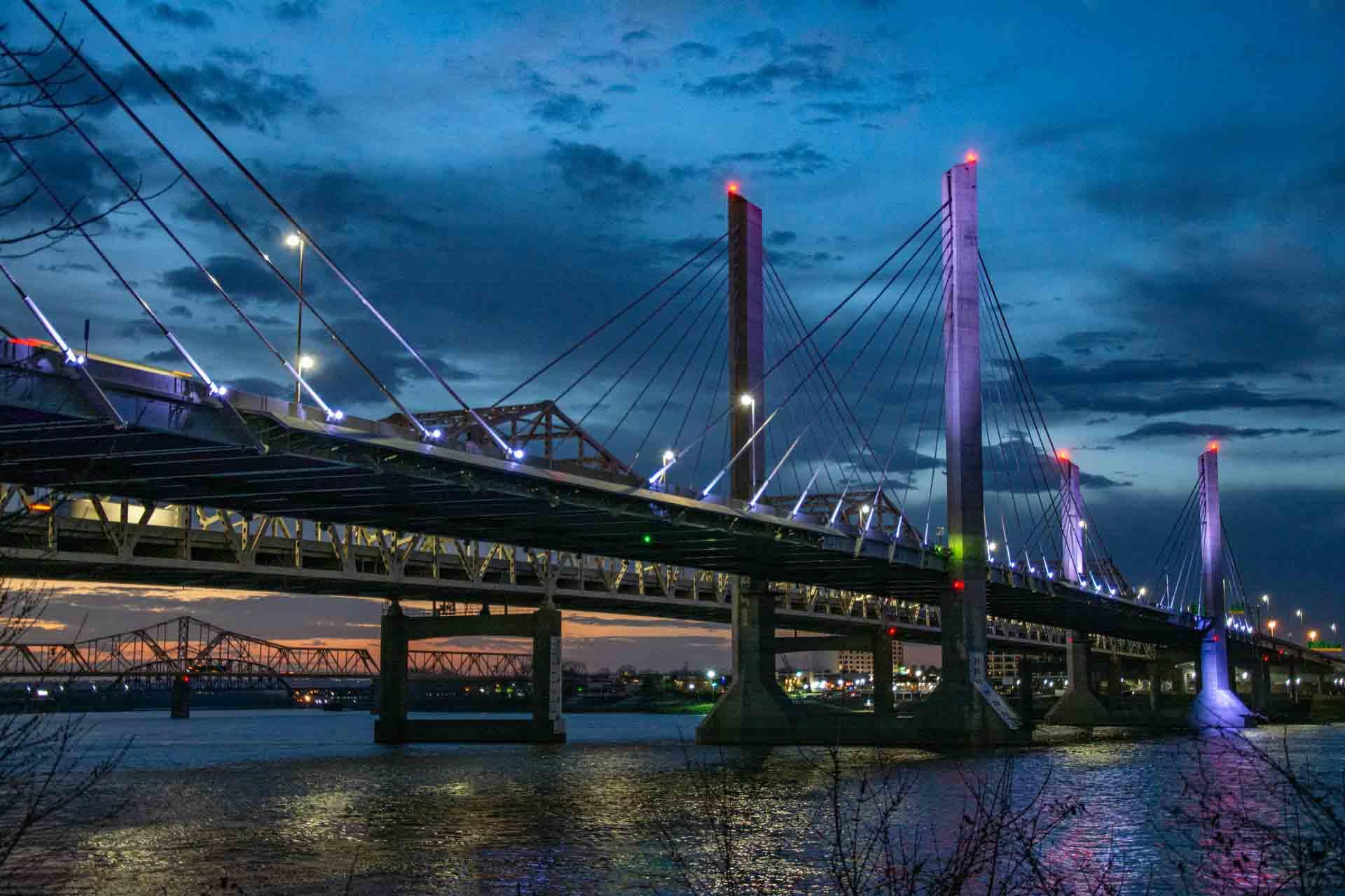 Louisville Kentucky bridge at night